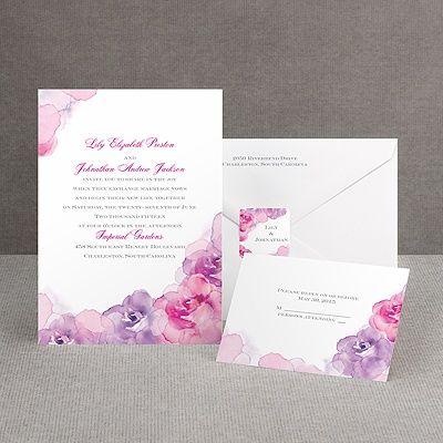 Watercolor Roses - Purple - Invitation. You know, with all the seashell, pearl, and with my personal love of water, I think water color invitations in purple and pink would be appropriate! Maybe I could get some paint, water, blank cards and make a crafting session out of it!