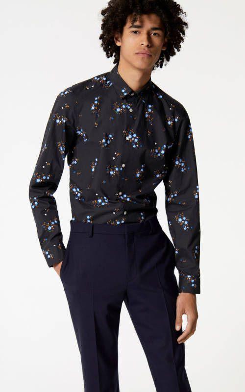 9f8dca148 Kenzo Black Shirts Men 'Cheongsam Flower' Shirt | Kenzo Shirts Men ...