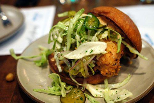 Fried Chicken Sandwich, Spicy B Pickle Slaw, Rooster Aioli - Son of a Gun, LA