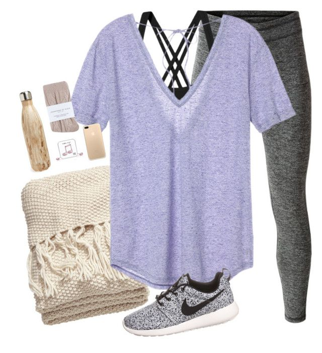 """traveling all day"" by brooklm ❤ liked on Polyvore featuring MANGO, H&M, Patagonia, Victoria's Secret, Happy Plugs, Johnstons, S'well and NIKE"
