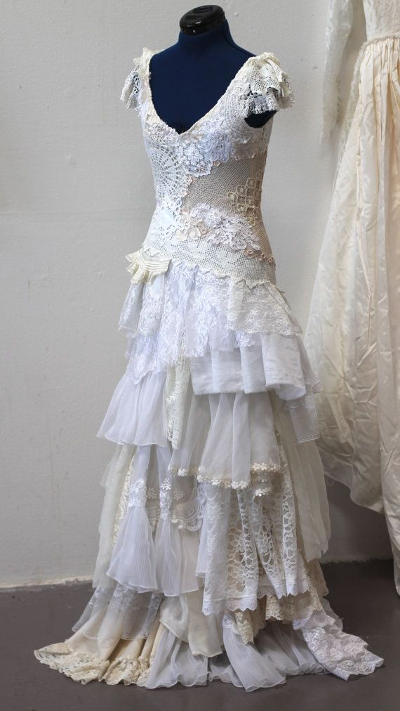 Wedding Gown made from doilies, tablecloths and other vintage textiles, a must see The AsA Custom Elena Gown Made to Order by ArmoursansAnguish,