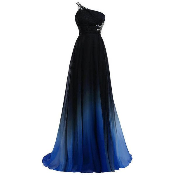 ACI Hot Sale Women Sexy Party Long Dress One Shoulder Black Blue... (£61) ❤ liked on Polyvore featuring dresses, gowns, vestidos, sexy long dresses, plus size long dresses, blue formal dresses, sexy formal dresses and long chiffon dress