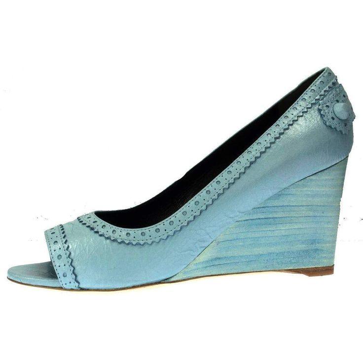 Balenciaga Arena Bleu Dragee Leather Wedge Open Toe Pump