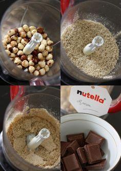 Nutella maison 150g de noisettes entières 100g de chocolat au lait 120ml sucre glace ou moins 1 CS pleine de cacao en poudre non sucré 1 pincée de sel de Guérande 1 cc d'extrait de vanille 1 cs d'huile neutre