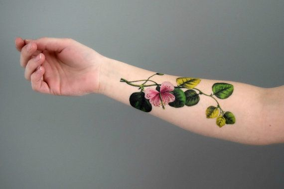 Vintage Poppy Floral Temporary Tattoo - Beauty & Health