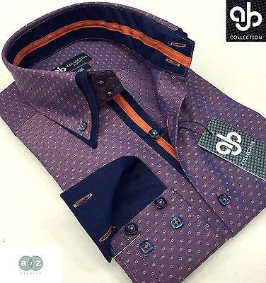 New Mens Formal Smart Dark Red(s) Italian Design Double Collar Slim Fit Shirt