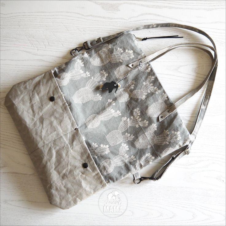 "Borsa covertibile ""Ficalinni"" NATURALE shopping bag e messenger, GRIGIO , stampa ""cactus"" di SmartmamaLab su Etsy"