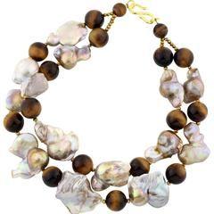 Tiger Eye Baroque Pearl Necklace