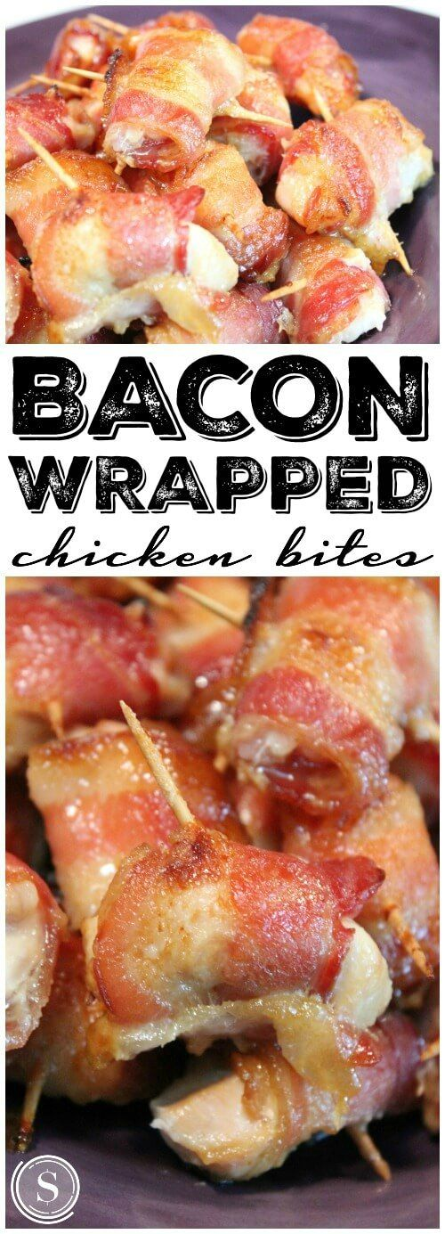 Bacon Wrapped Chicken Bites! Easy Super Bowl Recipe for mini appetizers and party recipes!