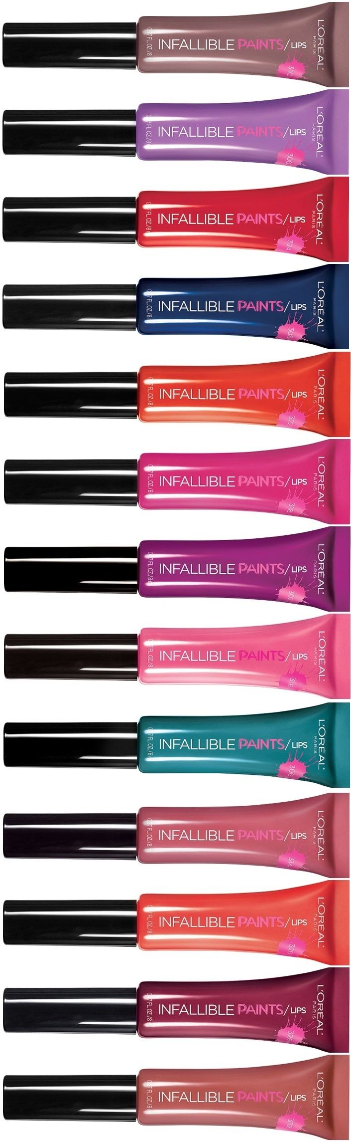 New Infallible Lip Paints in 14 bold color shades. Available now at Ulta.com and soon to all US retailers!