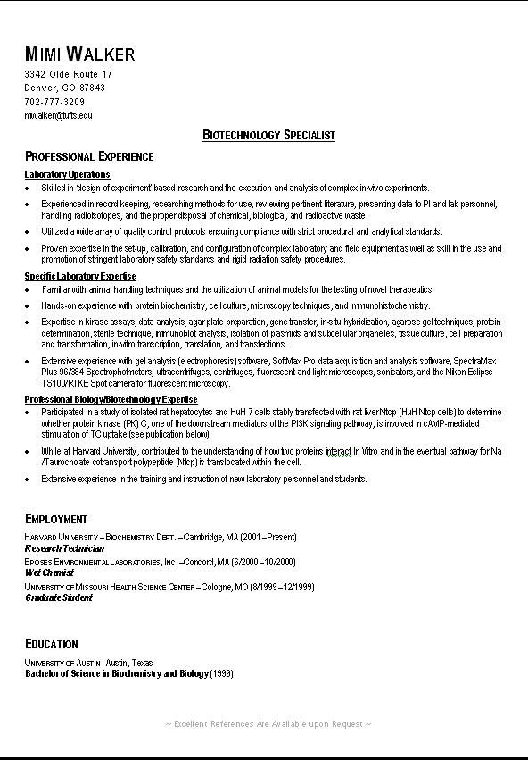 Example of a good college resume