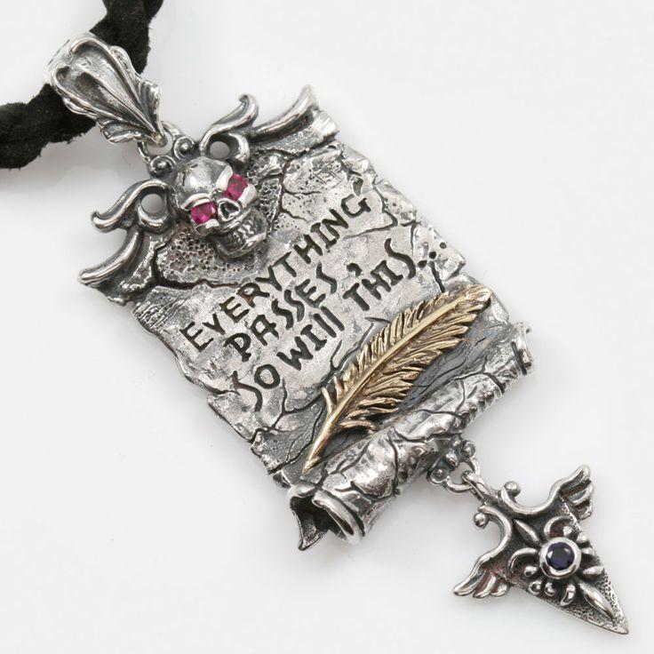 Solomon's Wisdom Tag Sterling Silver Pergament Pendant w/ Rubies & Sapphire  #GianiInspirations #DogTag