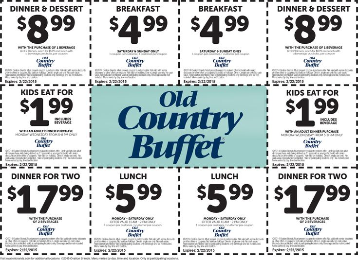 graphic relating to Old Country Buffet Printable Coupons Buy One Get One Free named Kumpulan Outdated Region Buffet Printable Discount codes Specials For Jan