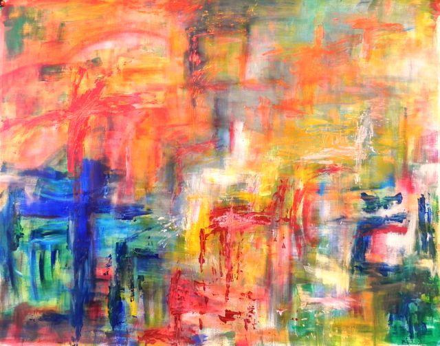 Midzomer | acryl op linnenpapier | ca 160 x 140 cm | © Irka Stachiw  #art #painting #landscape #irkastachiw