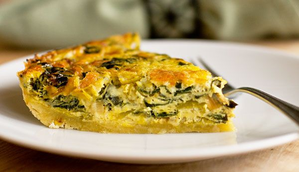 A slice of leek and Swiss chard quiche