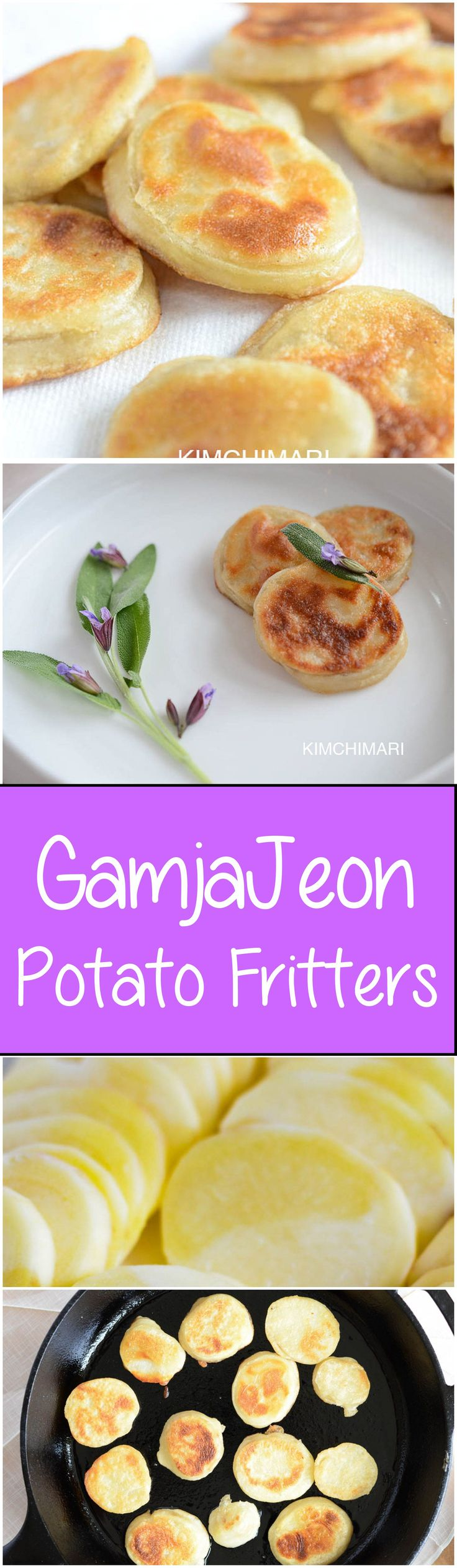 Korean potato fritters (Gamjajeon) is so simple to make yet so delicious. It makes a great snack or side dish/appetizer. With a crispy skin and a soft potato inside, you won't be able to stop eating them. | Kimchimari.com