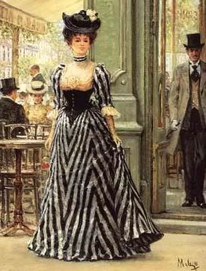 stripes were huge during this era. Love the frill on the sleeves and the solid black corset contrast.