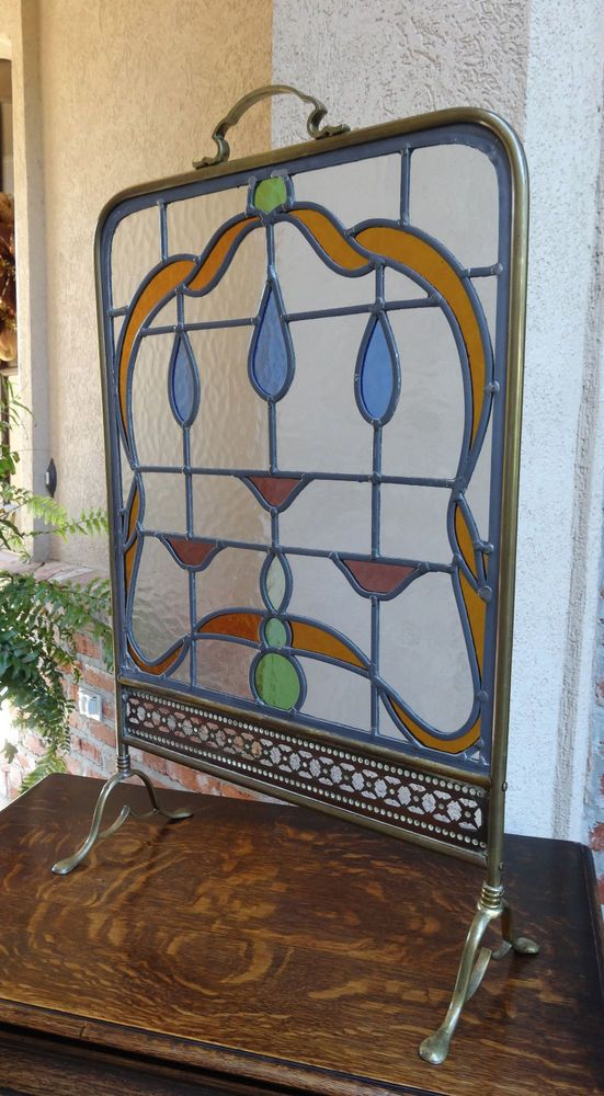 leaded glass fireplace screens. Antique English Leaded Stained Glass Window Brass Fire screen Stand Art Deco 25 best Fireplace screens images on Pinterest