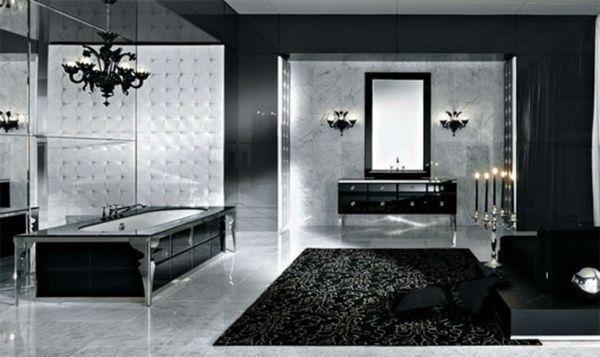 Bathroom in black chic bathtub
