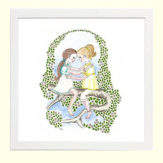 Eternal Friends - Whimsical Children's Art 8x8 Giclee Print