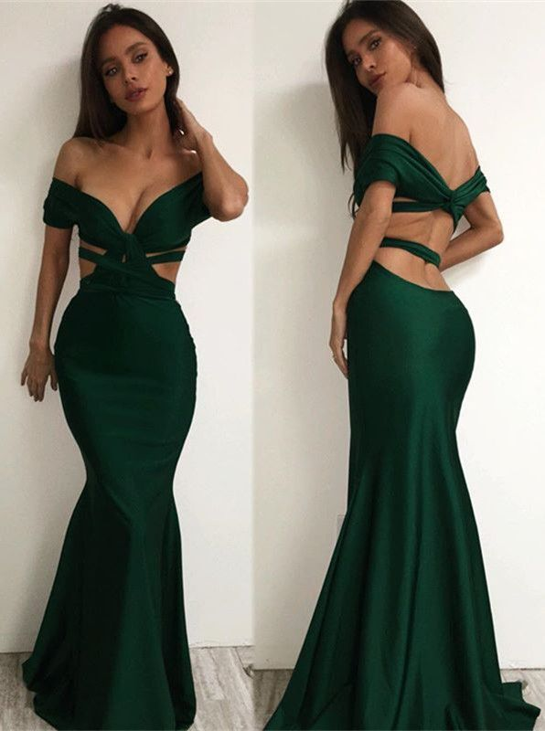sexy off the shoulder prom dresses dark green cutaway sides mermaid evening gowns