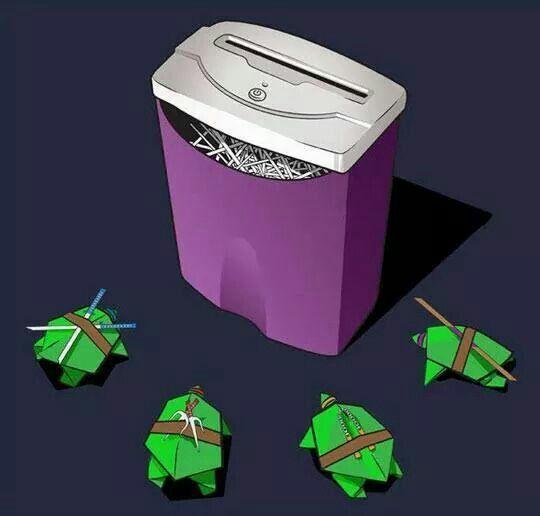 Oh no! The ninja turtles face the shredder!! Lmao!