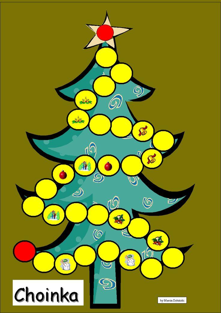 Plansza do gry Choinka, w której gracze ścigają po gwiazdę znajdującą się szczycie drzewka.