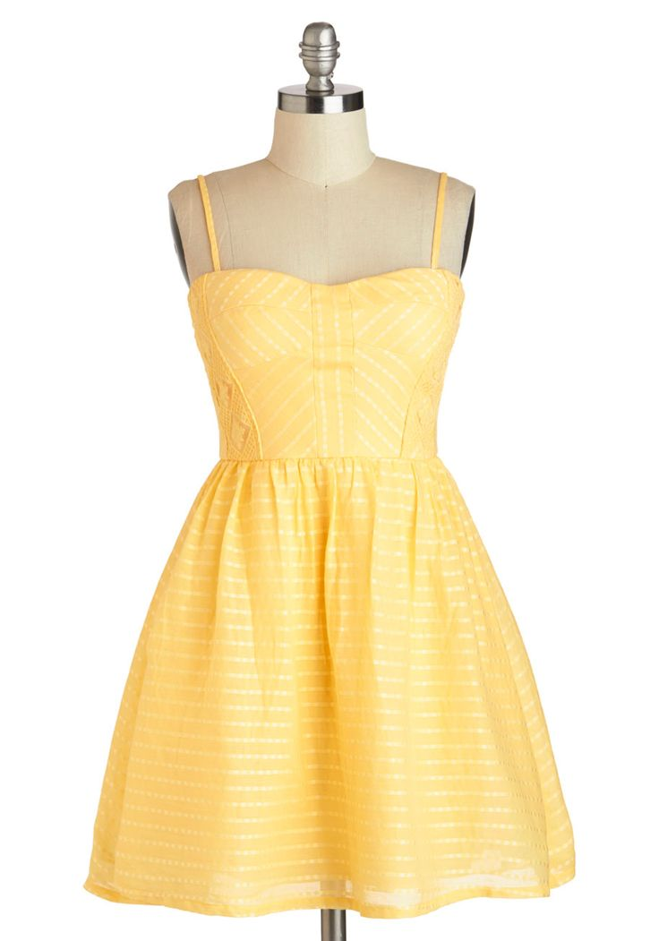 Picnic Me Up Dress - Cotton, Short, Yellow, Solid, Crochet, Casual, Fit & Flare, Spaghetti Straps, Sweetheart, Daytime Party, Summer