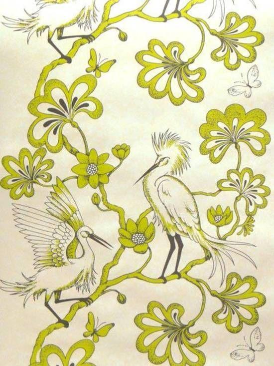 Wallpaper: Egrets in Apple and Pebble on Matt White by Florence Broadhurst.