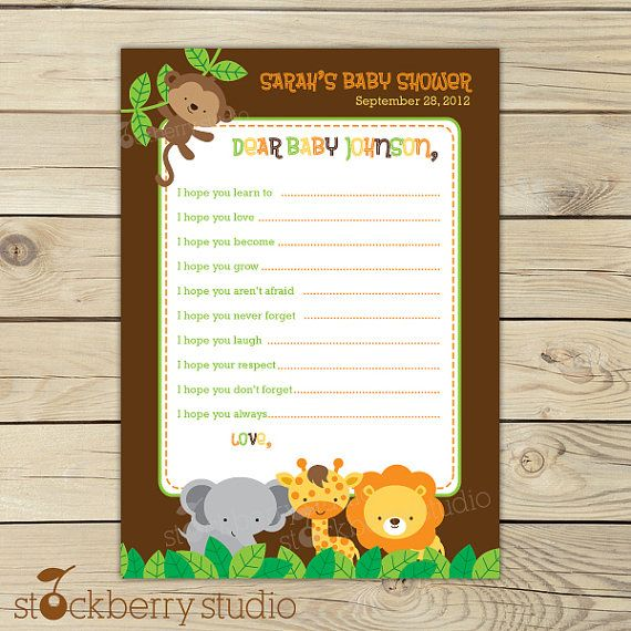 wishes for baby template printable - safari jungle baby shower wishes for baby card printable