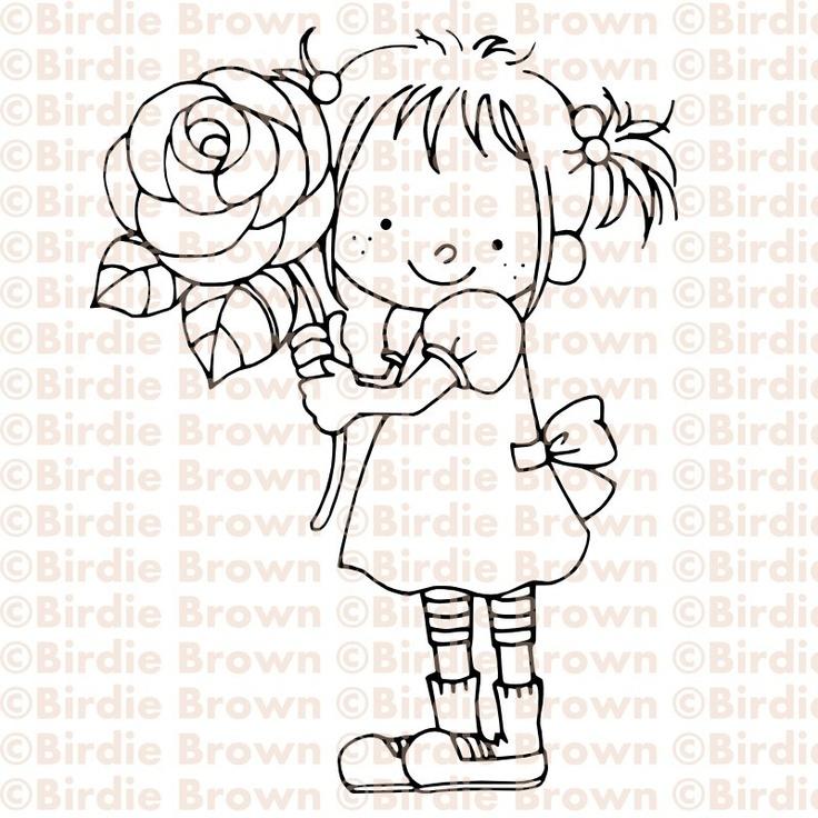 Digital Stamp -- Girl with a rose. $2.50, via Etsy.