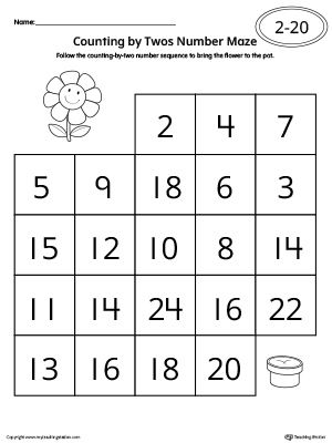 **FREE** Counting by Twos Number Maze Worksheet Worksheet. Practice skip counting by 2s in this number maze worksheet.