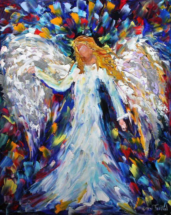<3 <3 <3 Original oil painting ANGEL PAINTING palette knife whimsical impressionism fine art by Karen Tarlton - www.etsy.com