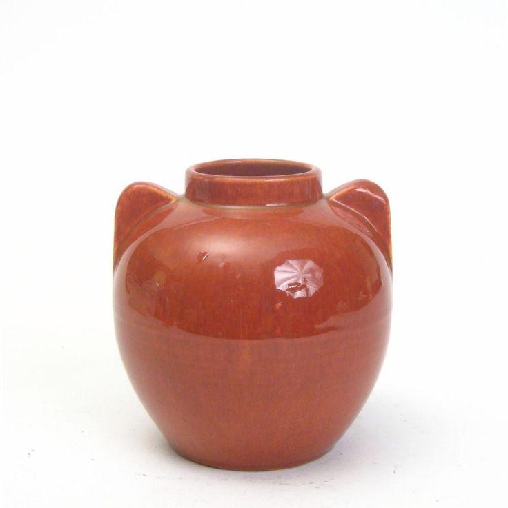 "Bauer Pottery Fred Johnson Designed Monterey Red Brown Olla Jar Vase 5.5"" #113FM"