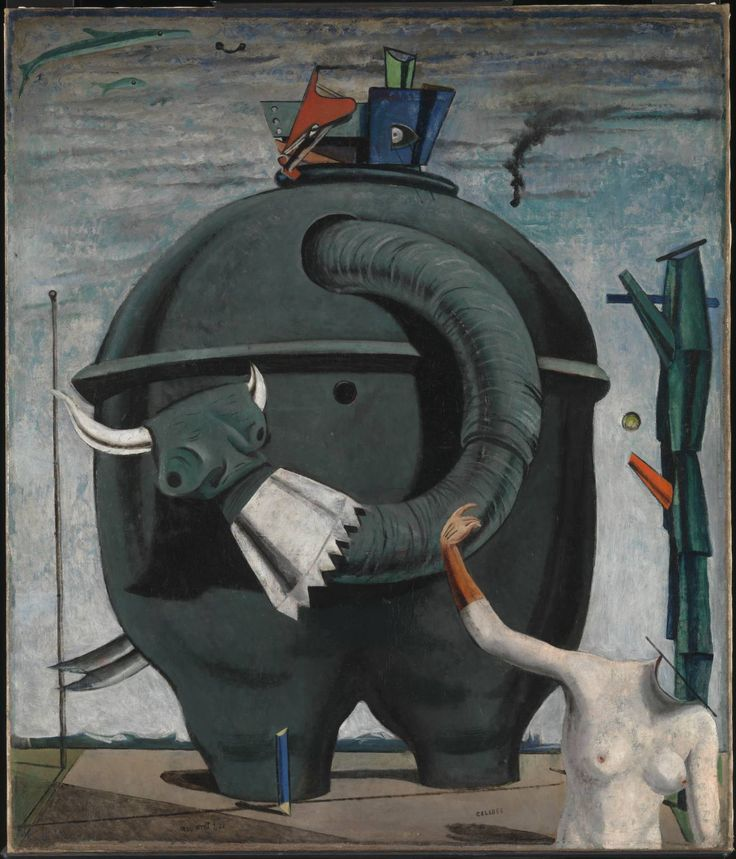 Max Ernst, The elephant Celebes, 1921 Surrealism Max Ernst often re-use images, he either added or removed pictures into his artworks in order to create new realities. This painting It combines the vivid, dreamlike atmosphere of Surrealism period. (-Re-ppined from Cynthia Wei)