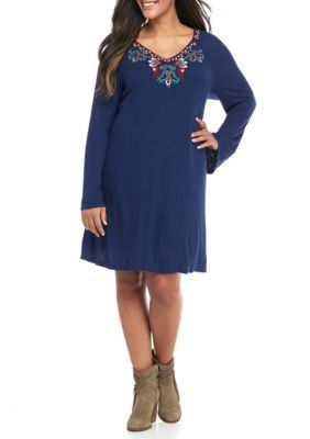 Red Camel  Plus Size Rib Knit Embroidered Swing Dress