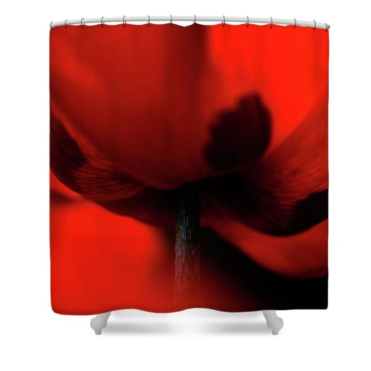 "Passionate Red Shower Curtain by Jenny Rainbow.  This shower curtain is made from 100% polyester fabric and includes 12 holes at the top of the curtain for simple hanging.  The total dimensions of the shower curtain are 71"" wide x 74"" tall."
