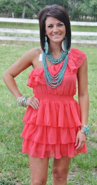 Lil Miss Sunshine Coral One Shoulder Ruffle Dress $42.95 Size: Small, Medium, Large http://www.giddyupglamouronline.com/catalog.php?item=5346