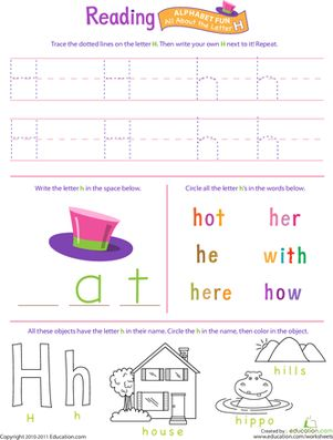 Preschool The Alphabet Letter H Worksheets: Get Ready for Reading: All About the Letter H
