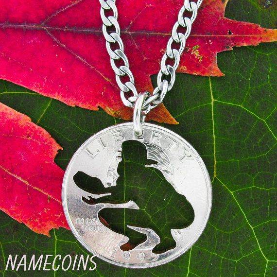Softball catcher Jewelry, hand cut coin Jewelry, Choose your special Quarter on Etsy, $24.99