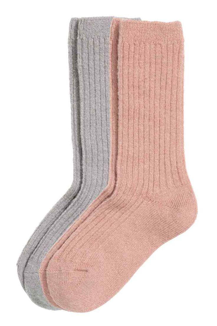Calze in misto mohair, 2 paia: Calze in morbida maglia a coste di misto mohair.