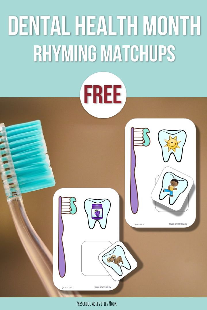 Dental health free printable for your literacy centers.  How do youteach rhymingto your pre-schoolers? Rhyming is an important pre-literacy skill and is part of the foundation that future reading skills are built on. But, teaching rhyming doesn't have to be complicated! My favorite ways to work on rhyming is to enjoy lots and lots of rhyming songs and stories together! Oral language activities …Read more...