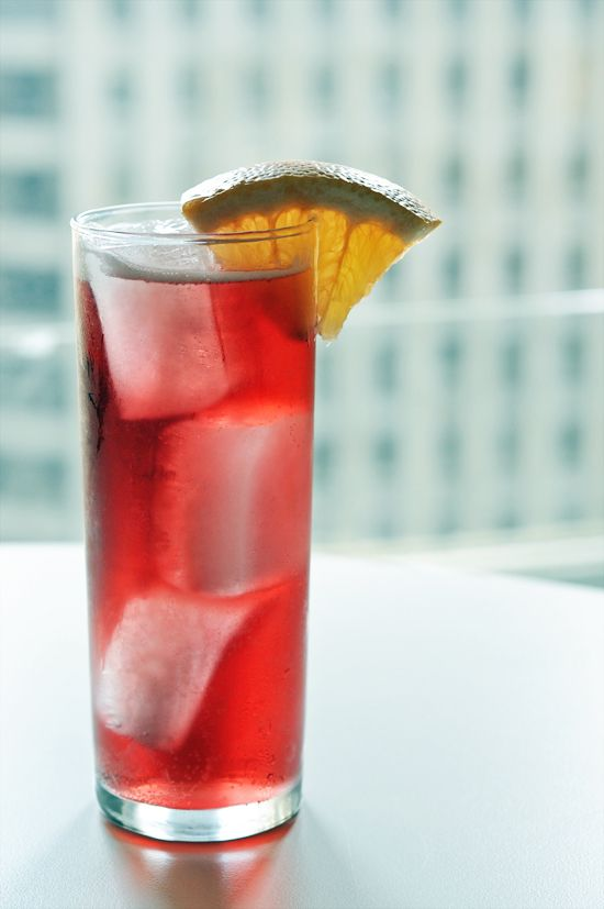 """A """"redheaded ginger"""" cocktail, made with Lillet Rouge and ginger beer"""