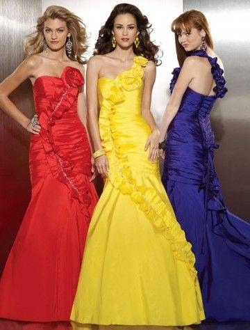 (HUNG008058)2013 Style Trumpet / Mermaid One Shoulder Floor-length Sleeveless Taffeta Prom Dress / Evening Dress