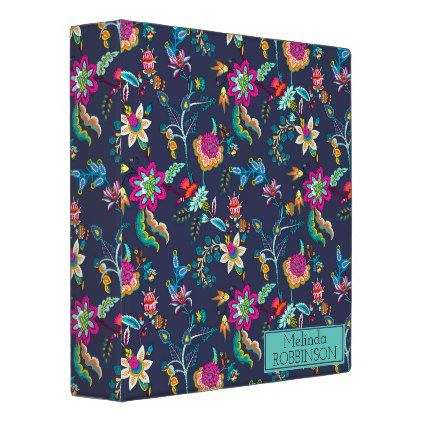 Navy Blue and Purple Gold Floral Custom Binder - purple floral style gifts flower flowers diy customize unique