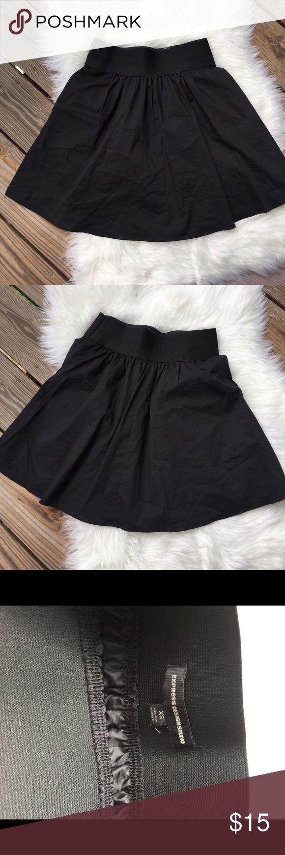 EUC Express Black Circle Skirt Black full skirt. Elastic waist and pockets! 🙌🏼 perfect -- no flaws. Express Skirts A-Line or Full
