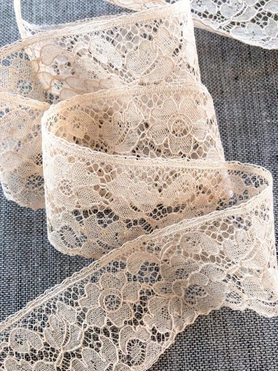 Vintage Lace Trim Alencon Lace Floral Lace 1 5 Wide Cream Lace Vintage Lace Alencon Lace Cream Lace