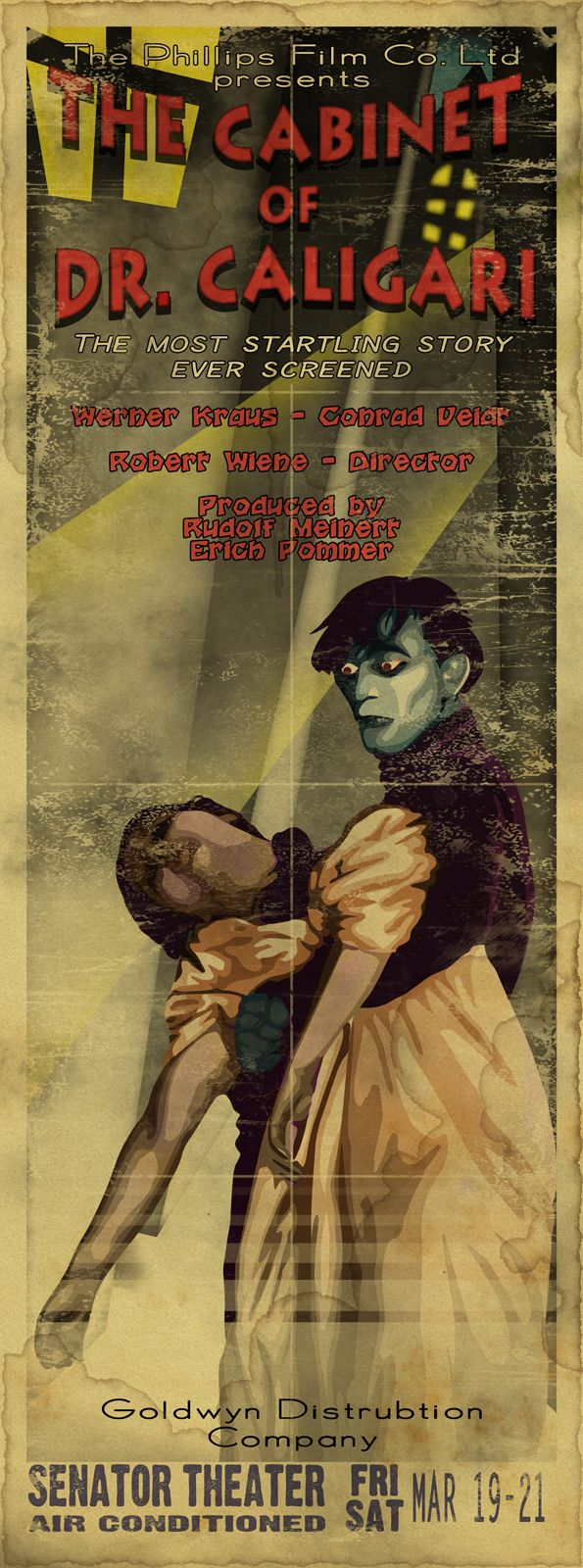 """The Cabinet of Dr. Caligari. Strikes me as a modern vintage weathered recreation. Looks like some fonts in use, and the typo of """"Goldwyn 'Distrubtion'"""""""