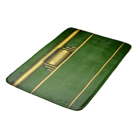 Monogram on luxury gold effect and green bath mat - click to get yours right now!
