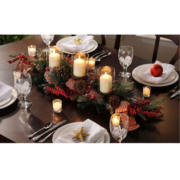 Complete your table decorations with the Chevron Red Berry Centerpiece. #kirklands #holidaydecor #KirklandsHoliday